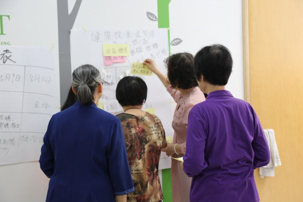 小组成员共同学习健康饮食金字塔